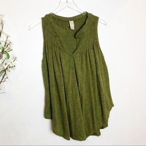Free People | Green Linen Ruched Tank Top
